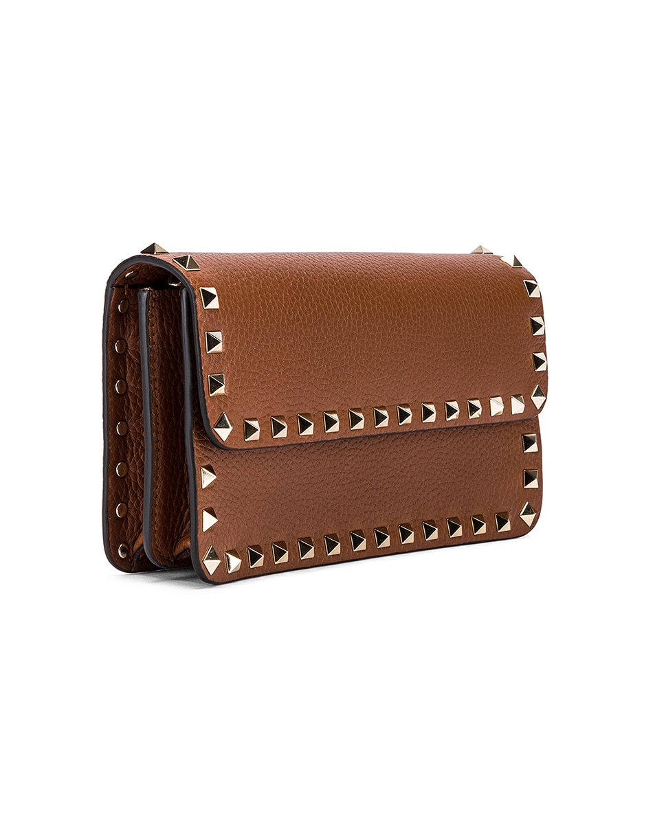 Image 4 of Valentino Rockstud Flap Crossbody Bag in Bright Cognac
