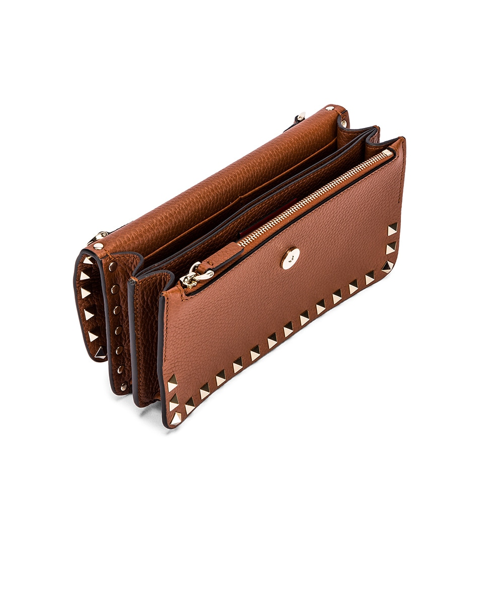 Image 5 of Valentino Rockstud Flap Crossbody Bag in Bright Cognac