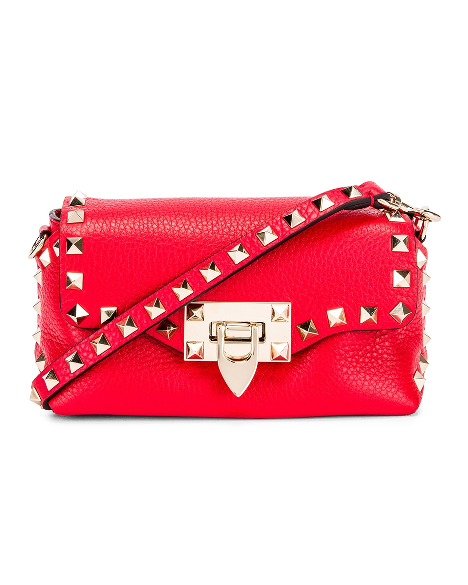 Image 1 of Valentino Rockstud Crossbody Bag in Rouge