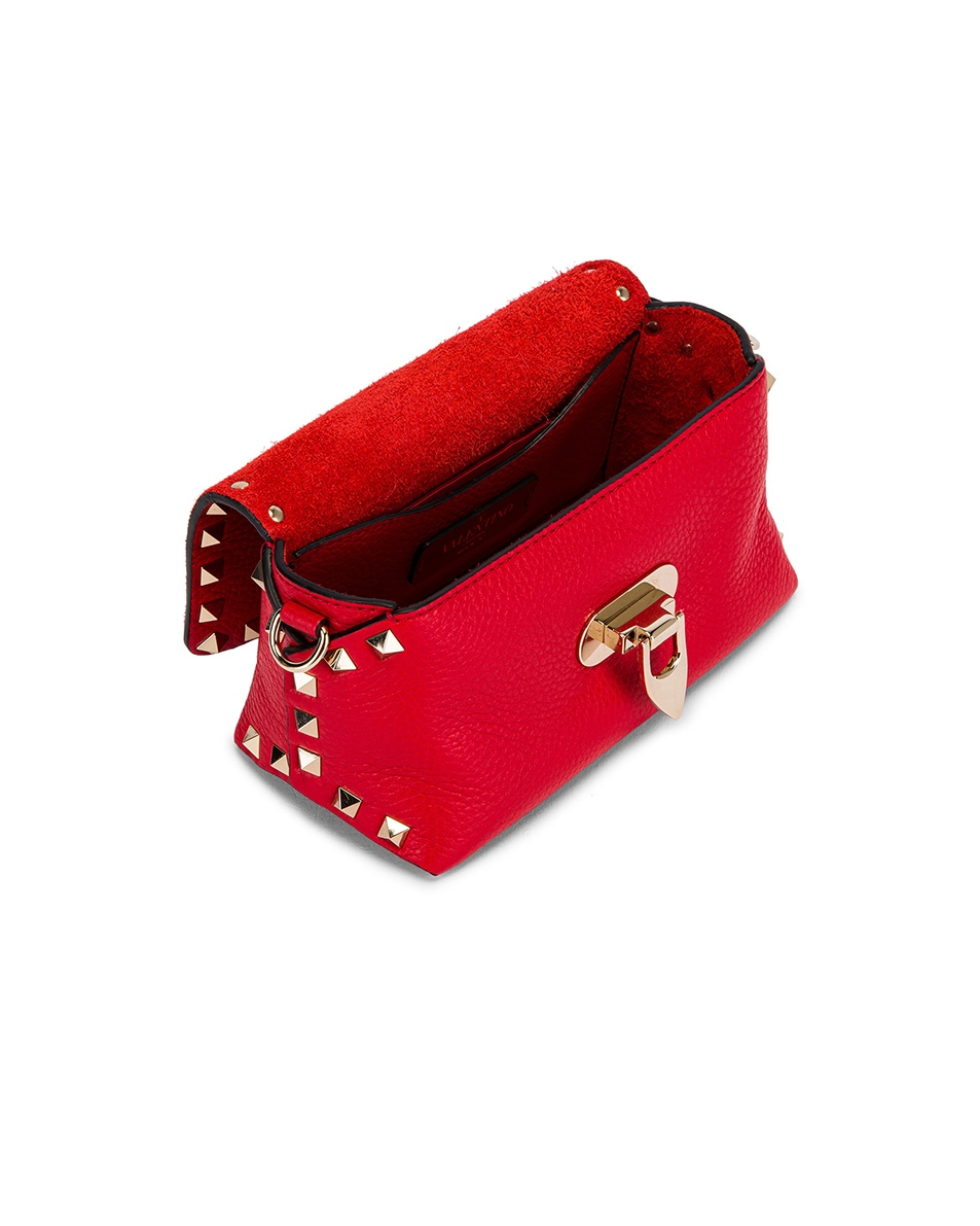 Image 5 of Valentino Rockstud Crossbody Bag in Rouge