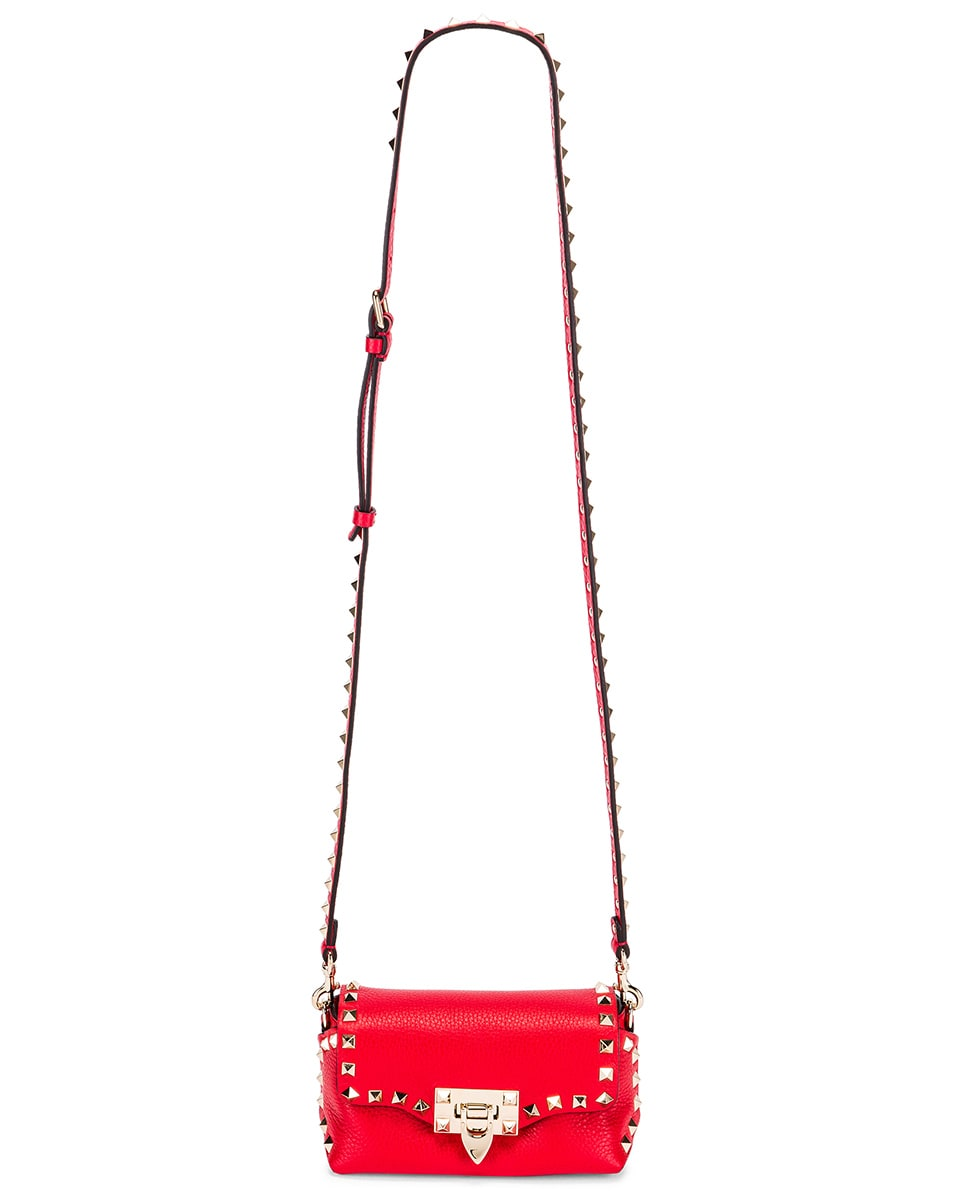 Image 6 of Valentino Rockstud Crossbody Bag in Rouge