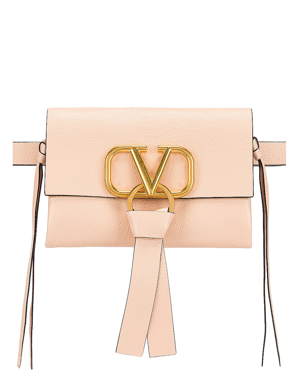 Image 1 of Valentino VRing Ribbon Belt Bag in Crema