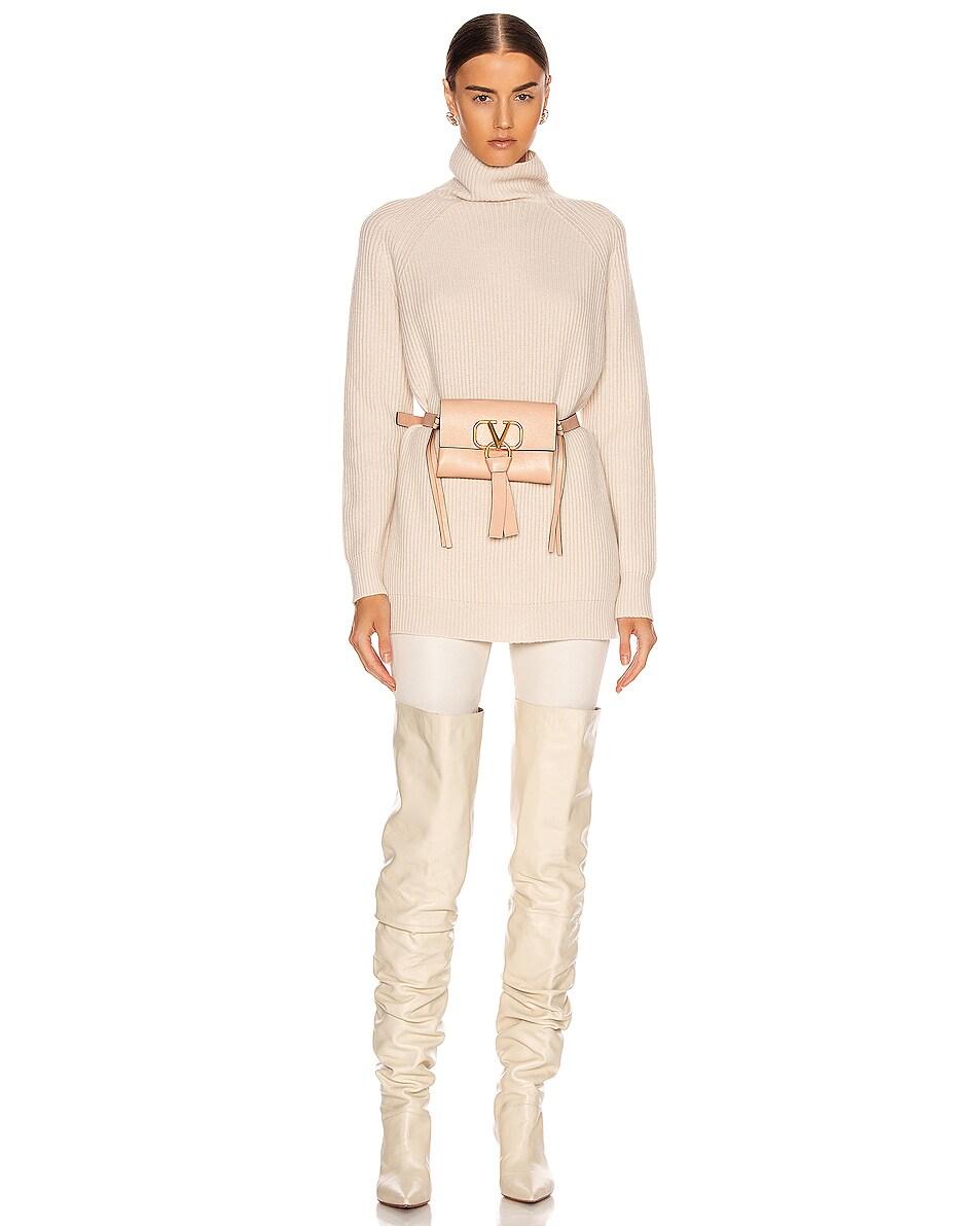 Image 2 of Valentino VRing Ribbon Belt Bag in Crema