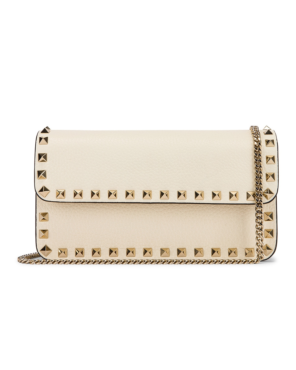 Image 1 of Valentino Rockstud Flap Crossbody Bag in Light Ivory