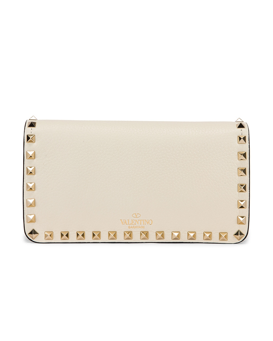 Image 2 of Valentino Rockstud Flap Crossbody Bag in Light Ivory