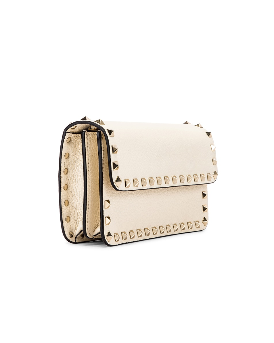 Image 3 of Valentino Rockstud Flap Crossbody Bag in Light Ivory