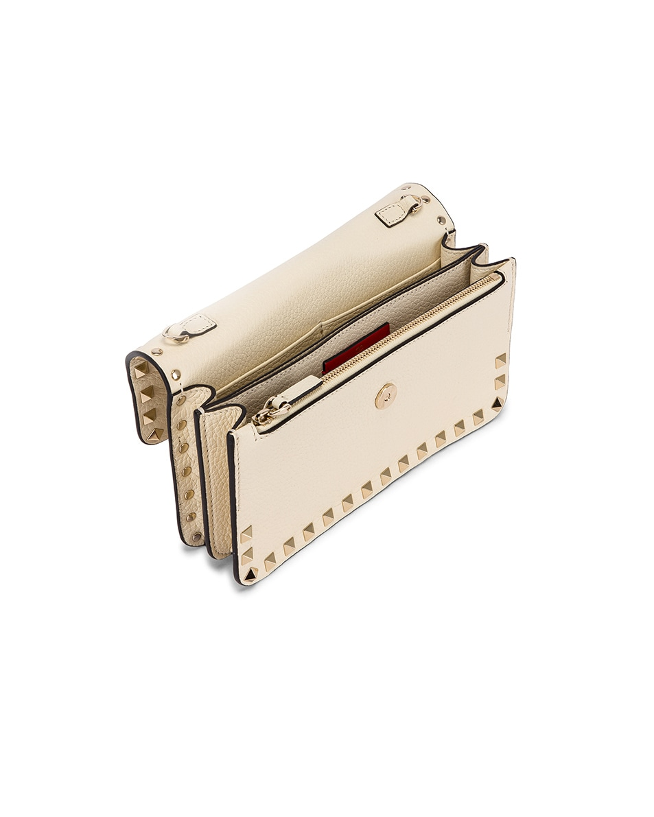 Image 4 of Valentino Rockstud Flap Crossbody Bag in Light Ivory