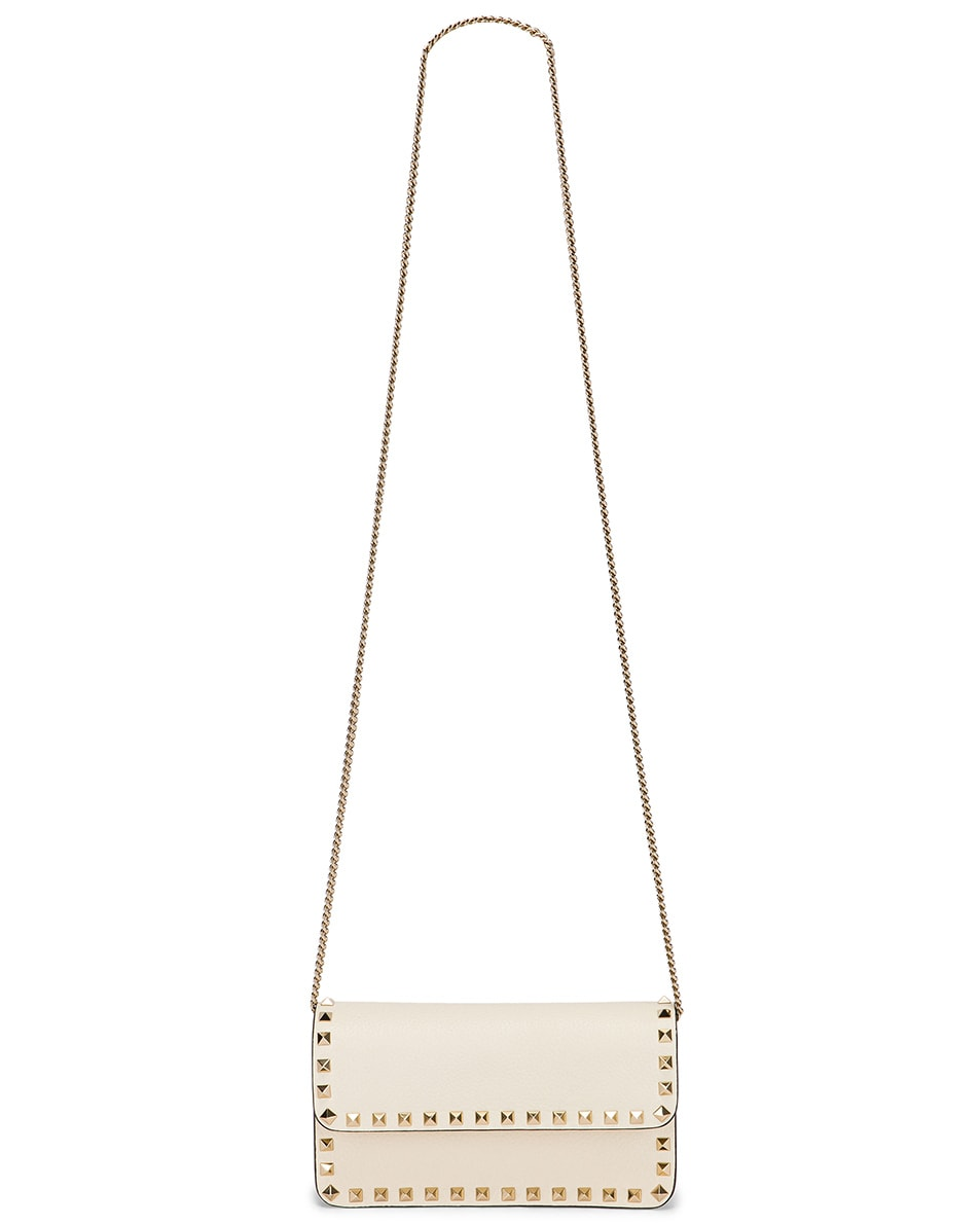 Image 5 of Valentino Rockstud Flap Crossbody Bag in Light Ivory