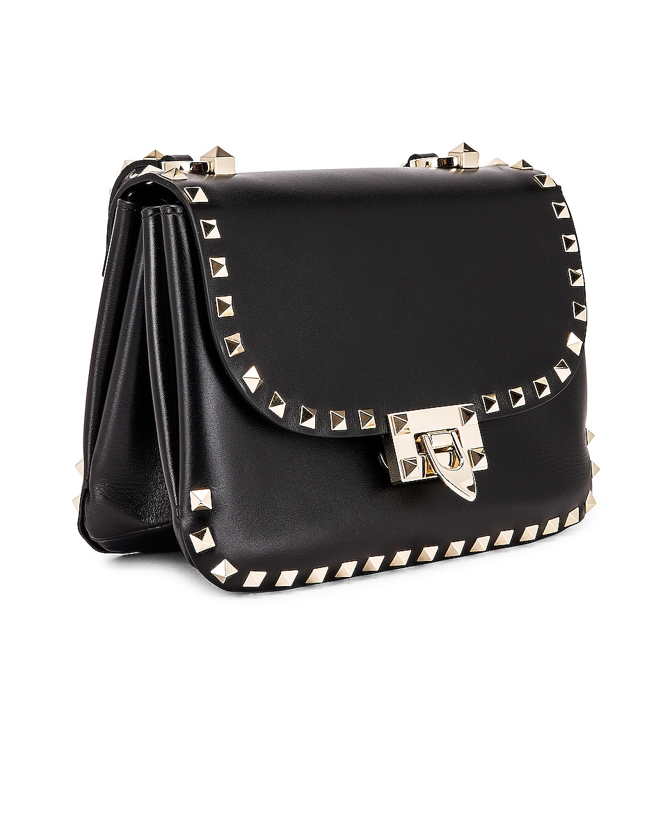 Image 4 of Valentino Small Rockstud Shoulder Bag in Black
