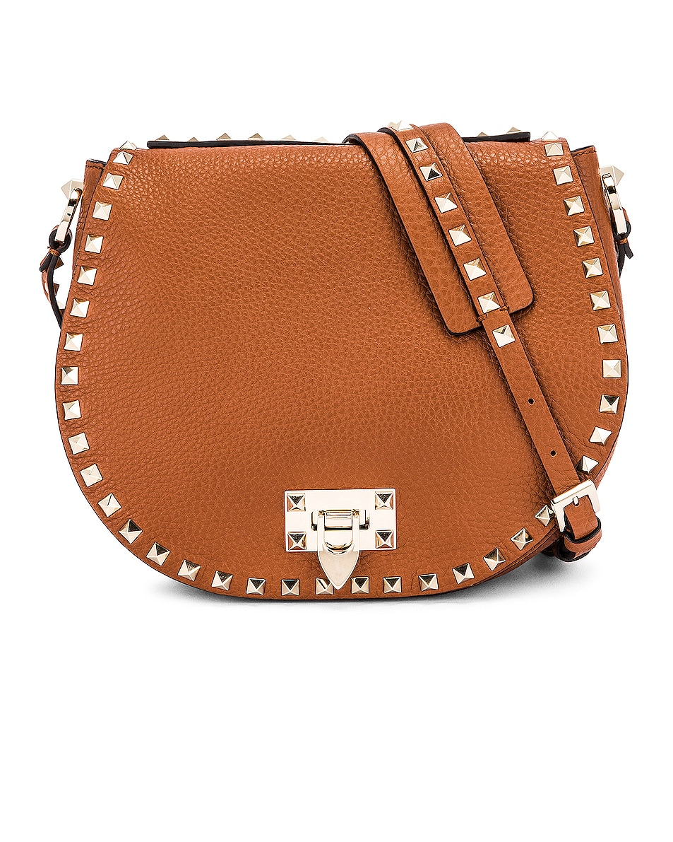 Image 1 of Valentino Small Rockstud Saddle Bag in Selleria
