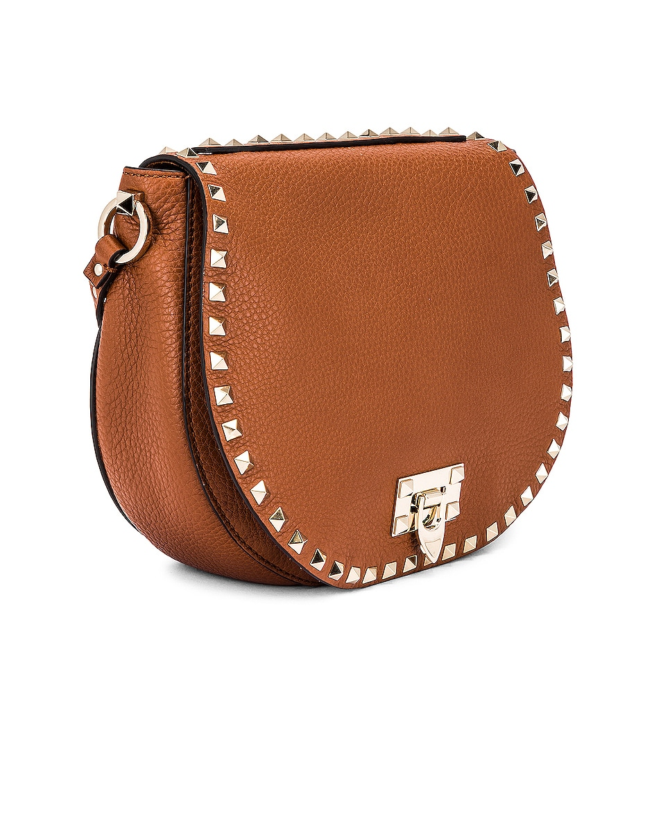 Image 4 of Valentino Small Rockstud Saddle Bag in Selleria