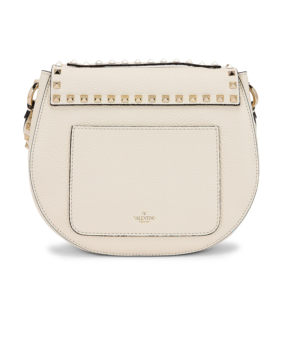 Image 3 of Valentino Small Rockstud Saddle Bag in Light Ivory