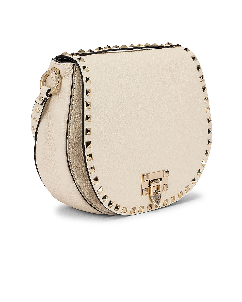 Image 4 of Valentino Small Rockstud Saddle Bag in Light Ivory