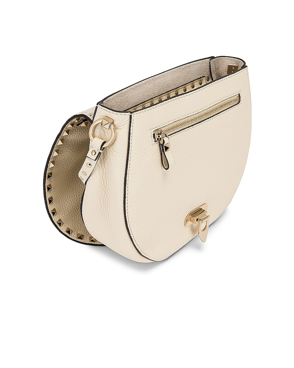 Image 5 of Valentino Small Rockstud Saddle Bag in Light Ivory