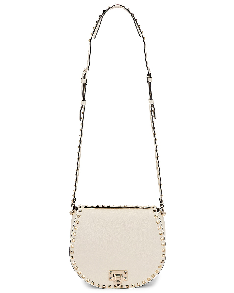 Image 6 of Valentino Small Rockstud Saddle Bag in Light Ivory