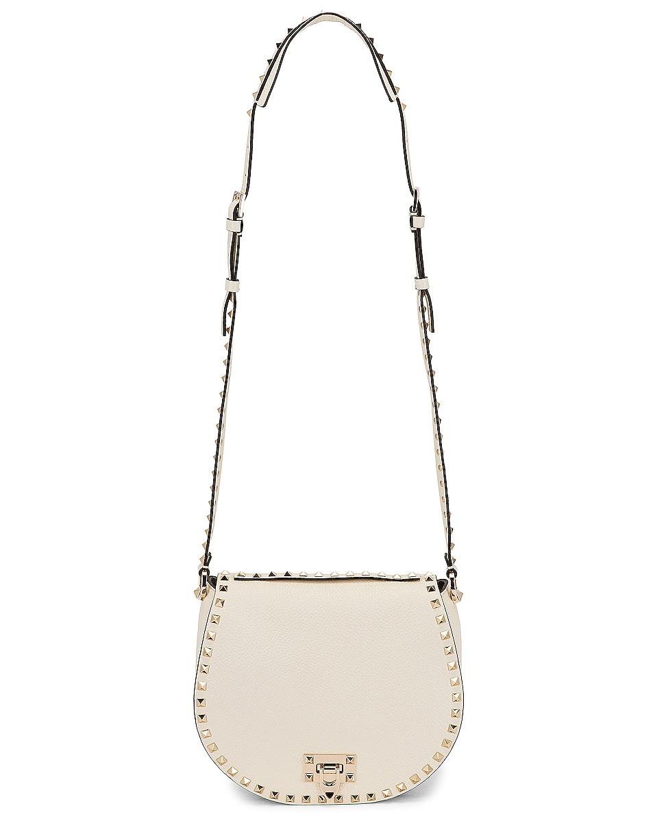 Image 6 of Valentino Small Rockstud Saddle Bag in Light Ivory
