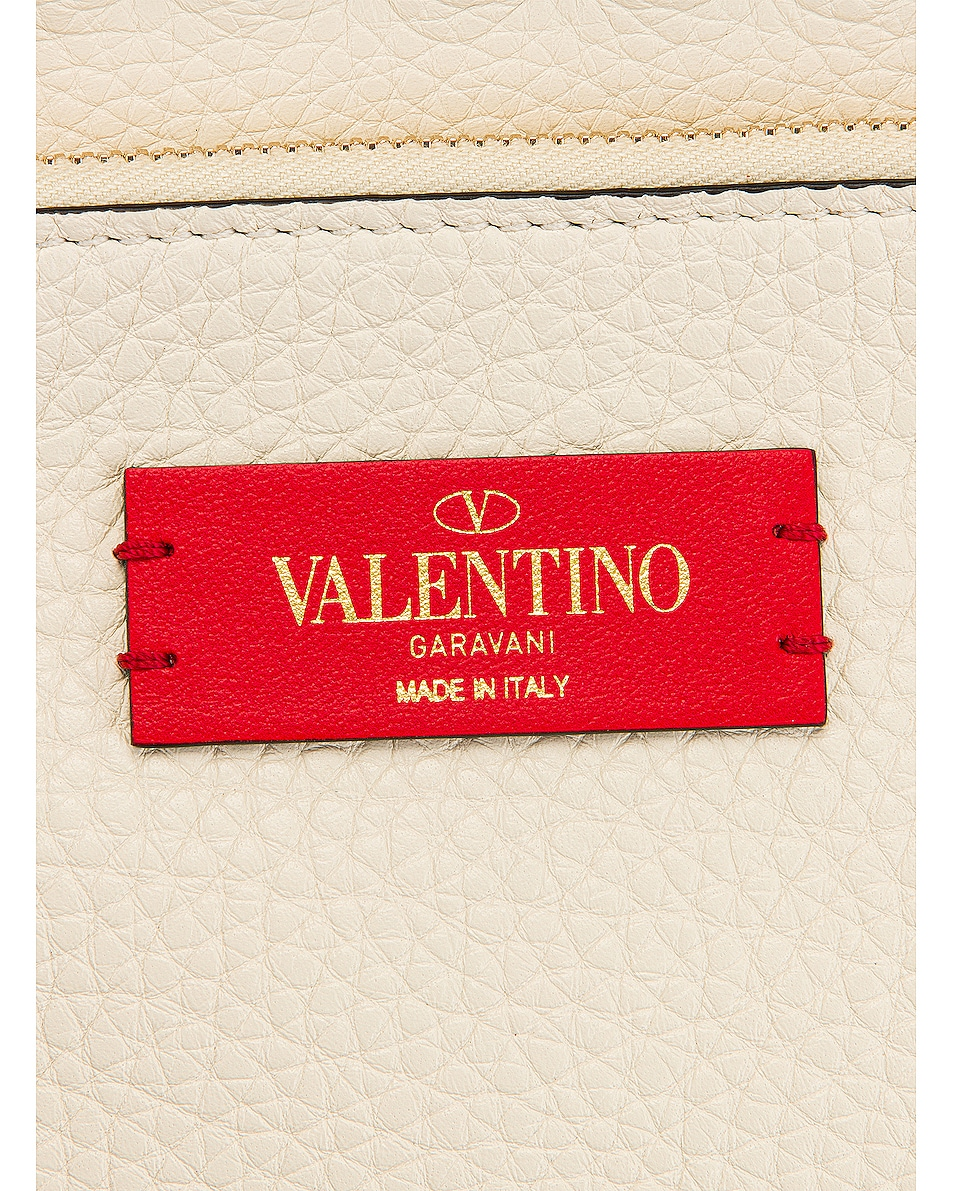 Image 7 of Valentino Small Rockstud Saddle Bag in Light Ivory