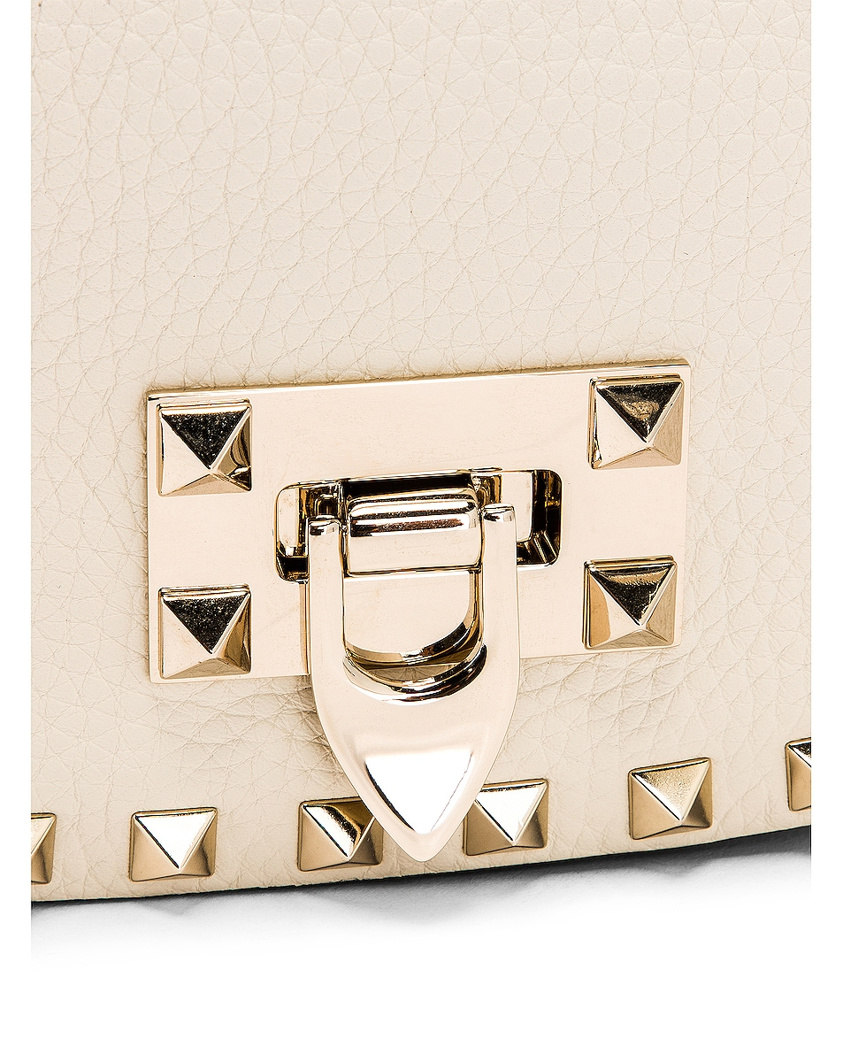 Image 8 of Valentino Small Rockstud Saddle Bag in Light Ivory