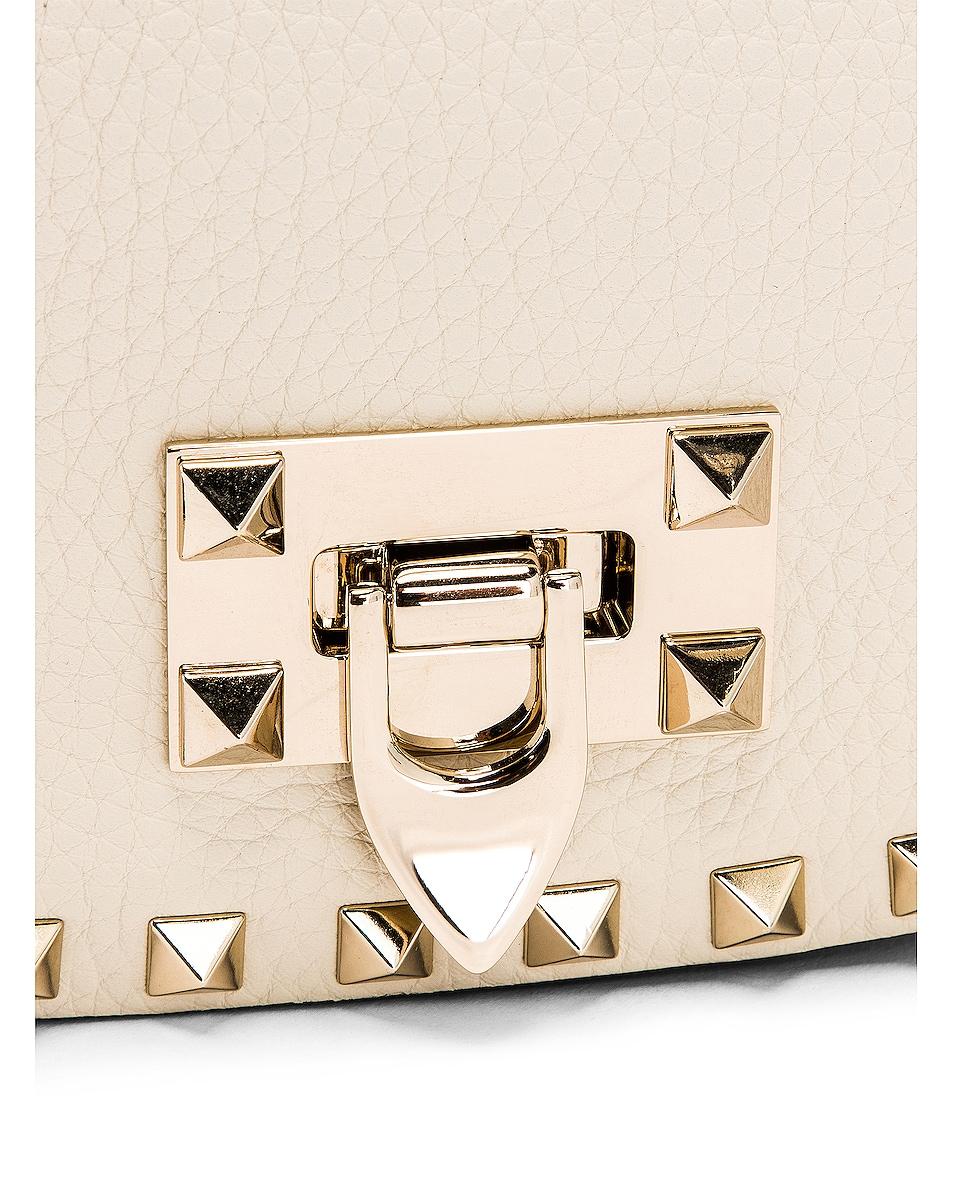 Image 8 of Valentino Small Rockstud Saddle Bag in Light Ivory