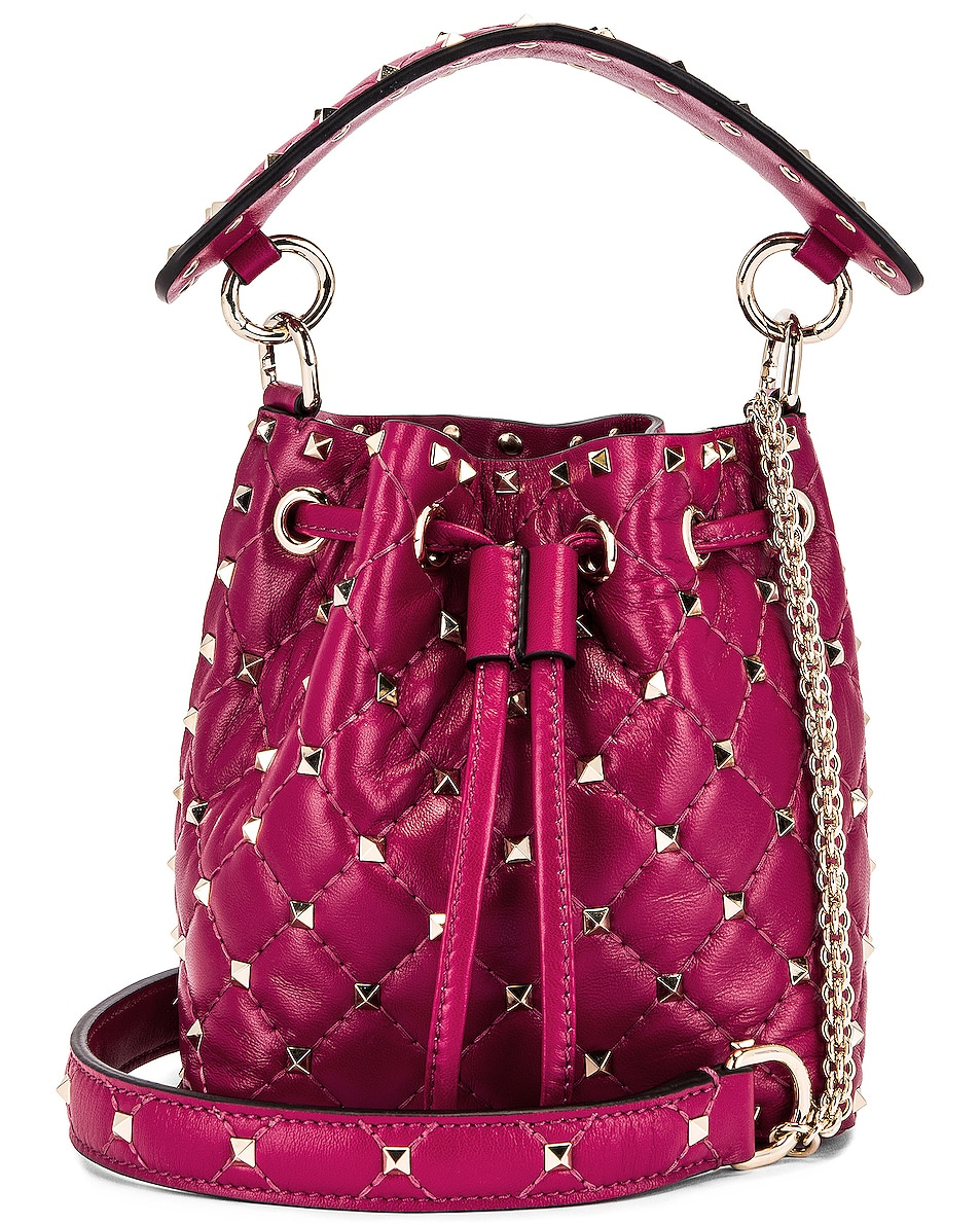 Image 1 of Valentino Mini Rockstud Spike Bucket Bag in Raspberry Pink