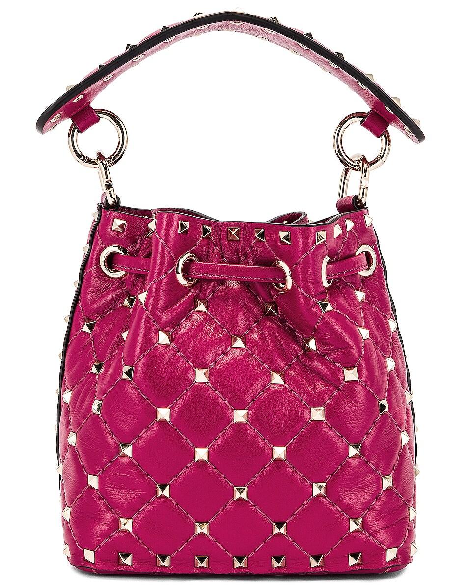 Image 3 of Valentino Mini Rockstud Spike Bucket Bag in Raspberry Pink