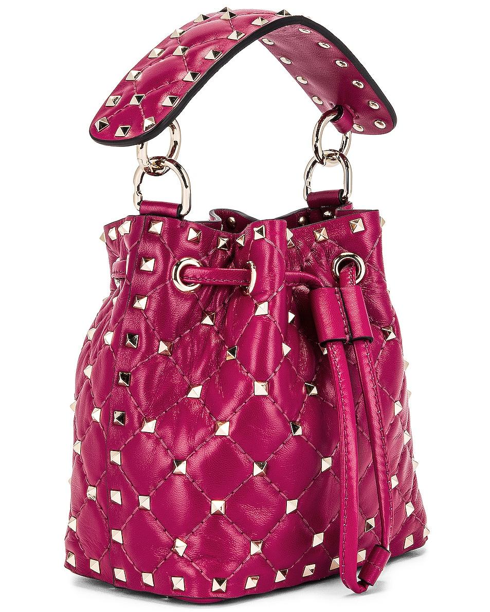 Image 4 of Valentino Mini Rockstud Spike Bucket Bag in Raspberry Pink