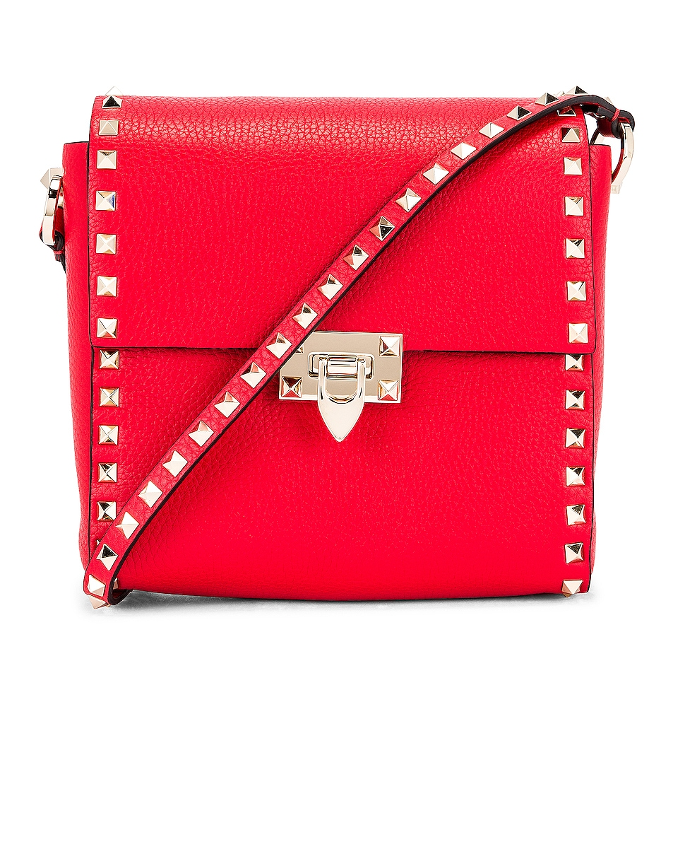 Image 1 of Valentino Garavani Rockstud Shoulder Bag in Red