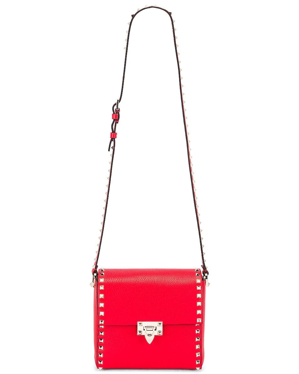 Image 6 of Valentino Rockstud Shoulder Bag in Red