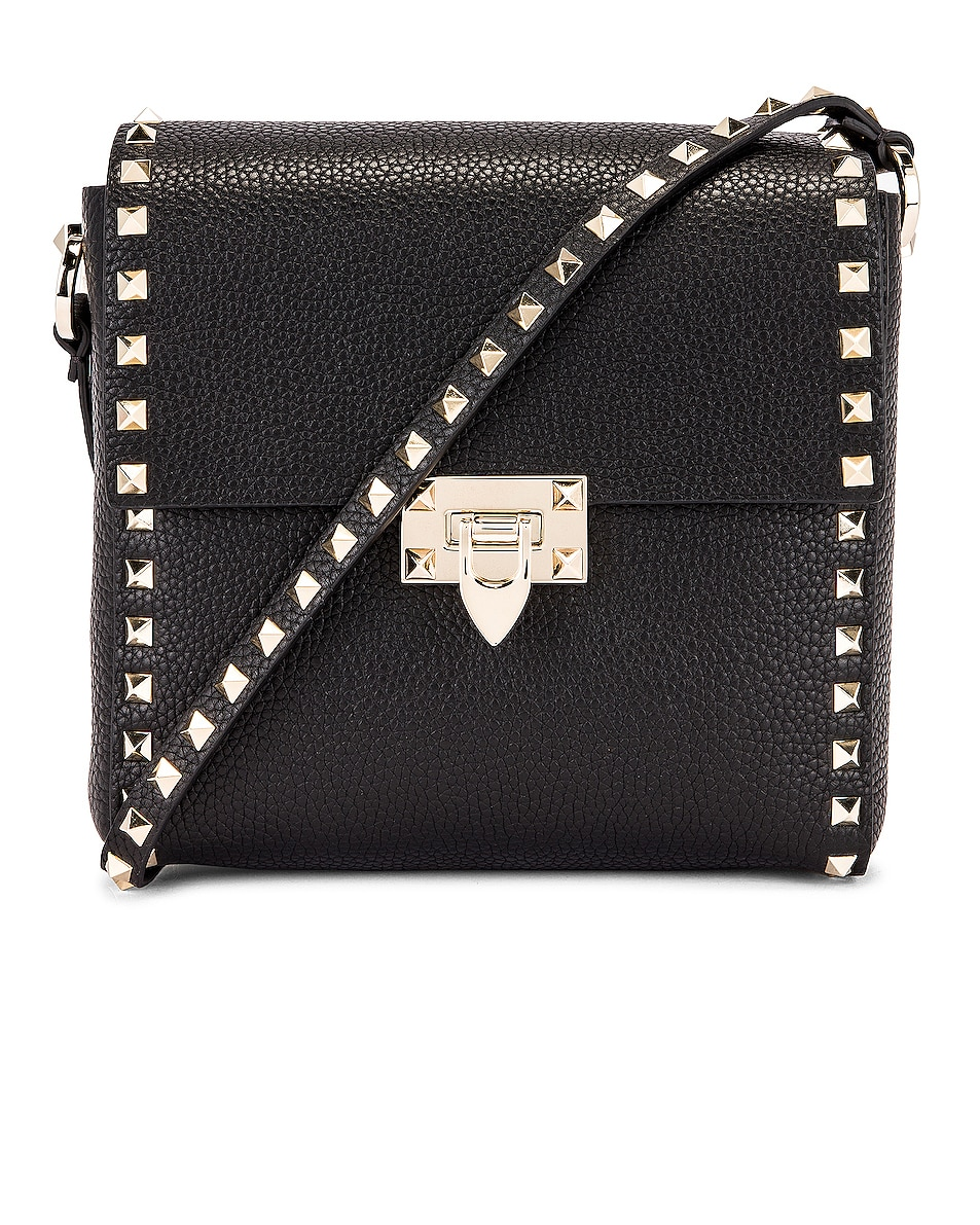 Image 1 of Valentino Rockstud Shoulder Bag in Black