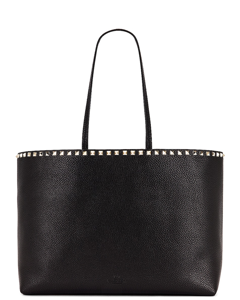 Image 3 of Valentino Rockstud Tote in Black