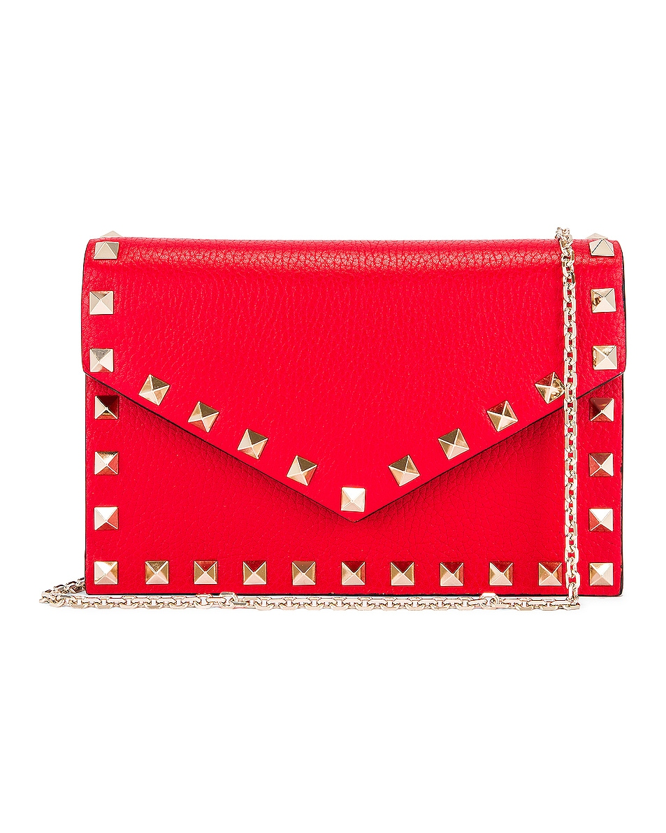 Image 1 of Valentino Rockstud Pouch in Red