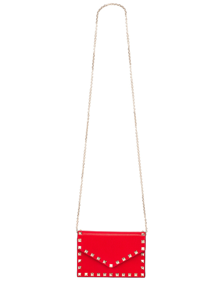 Image 6 of Valentino Rockstud Pouch in Red