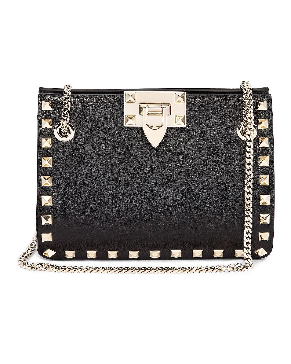 Image 1 of Valentino Mini Rockstud Chain Shoulder Bag in Black