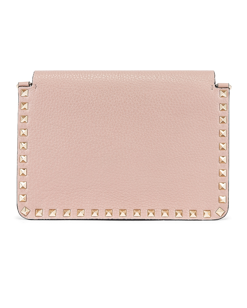 Image 3 of Valentino Small Rockstud Shoulder Bag in Poudre