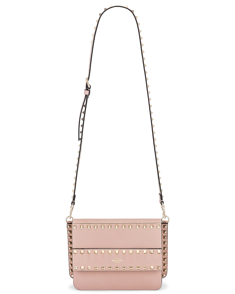 Image 6 of Valentino Small Rockstud Shoulder Bag in Poudre