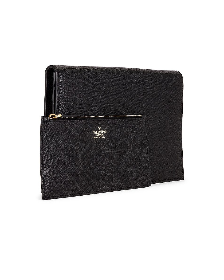 Image 4 of Valentino Medium VLogo Pouch in Black