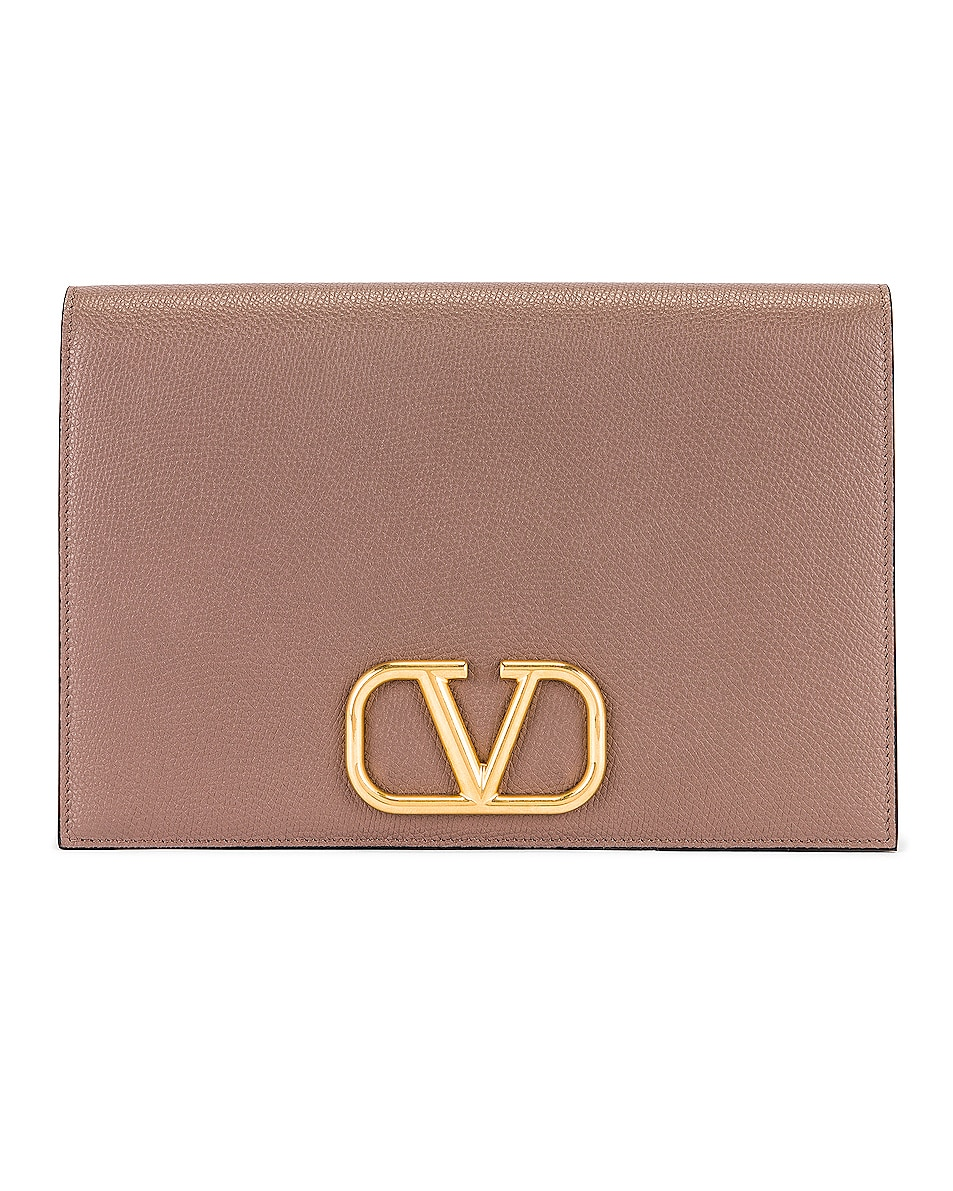 Image 1 of Valentino Medium VLogo Pouch in Clay