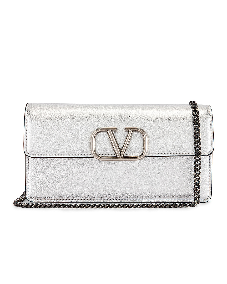 Image 1 of Valentino VSling Wallet on Chain Bag in Silver