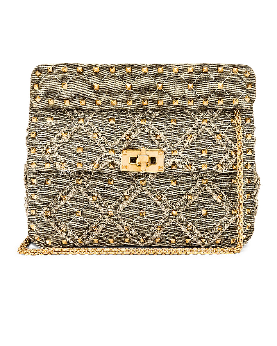 Image 1 of Valentino Medium Spike It Shoulder Bag in Army Green