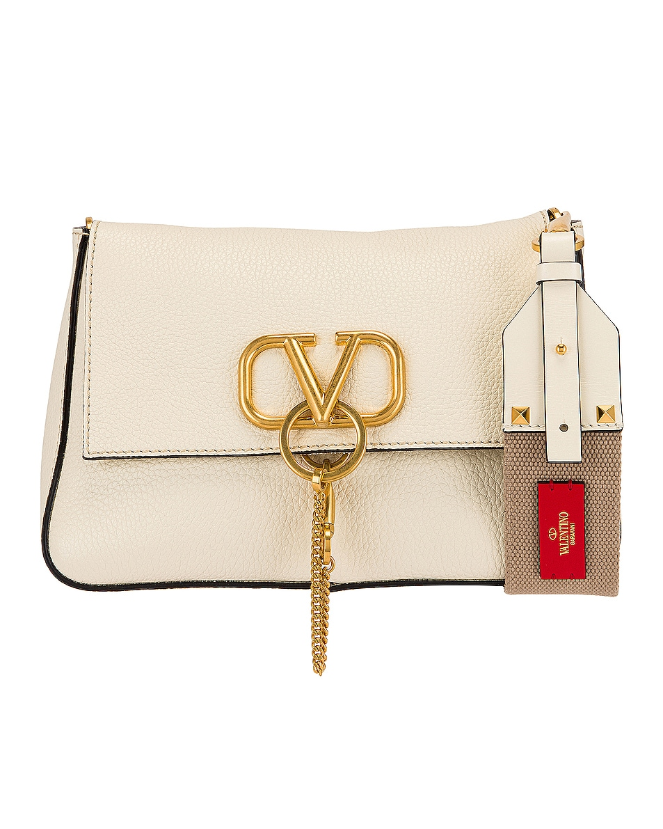 Image 1 of Valentino Small VRing Shoulder Bag in Light Ivory & Natural
