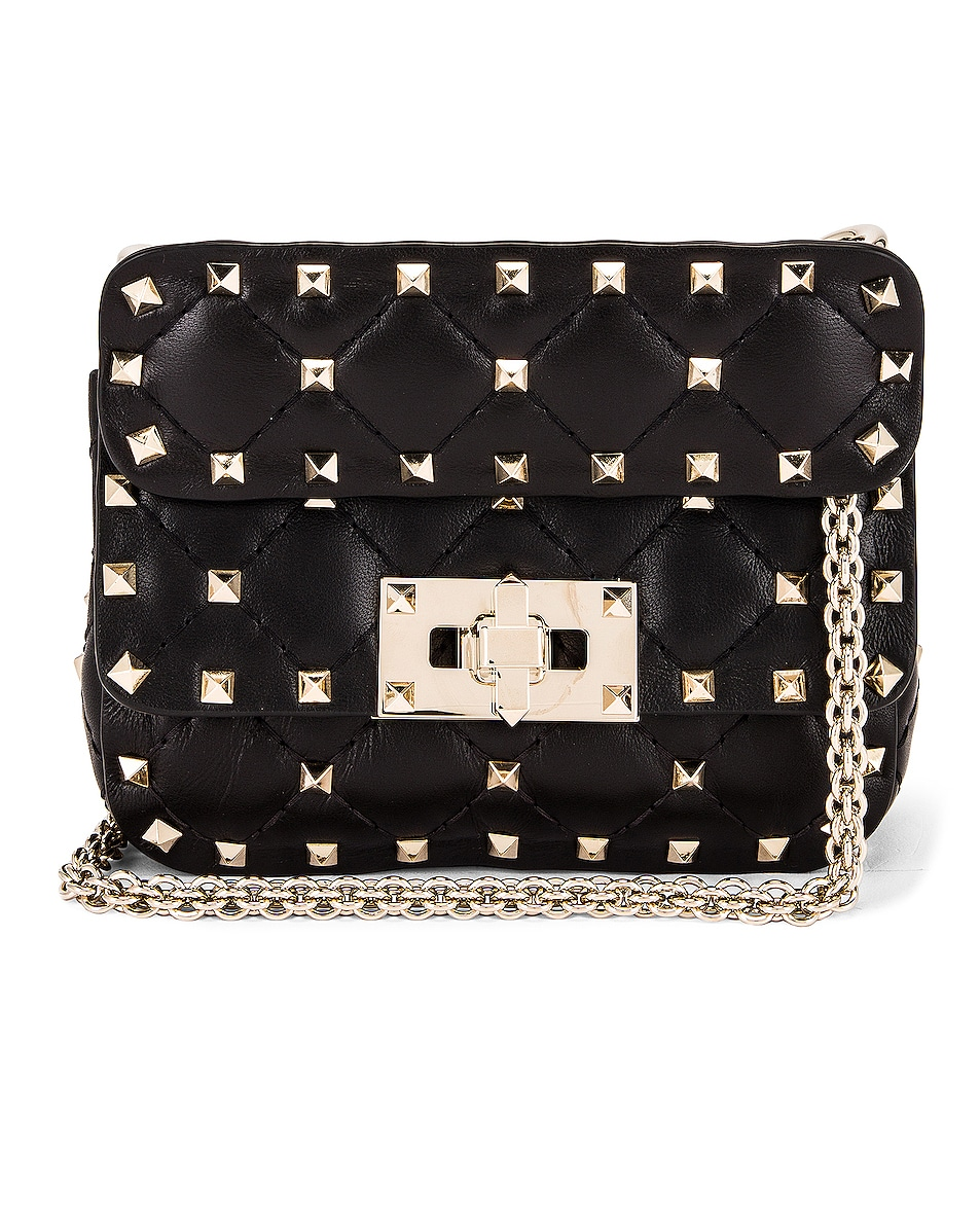 Image 1 of Valentino Micro Rockstud Spike Shoulder Bag in Nero
