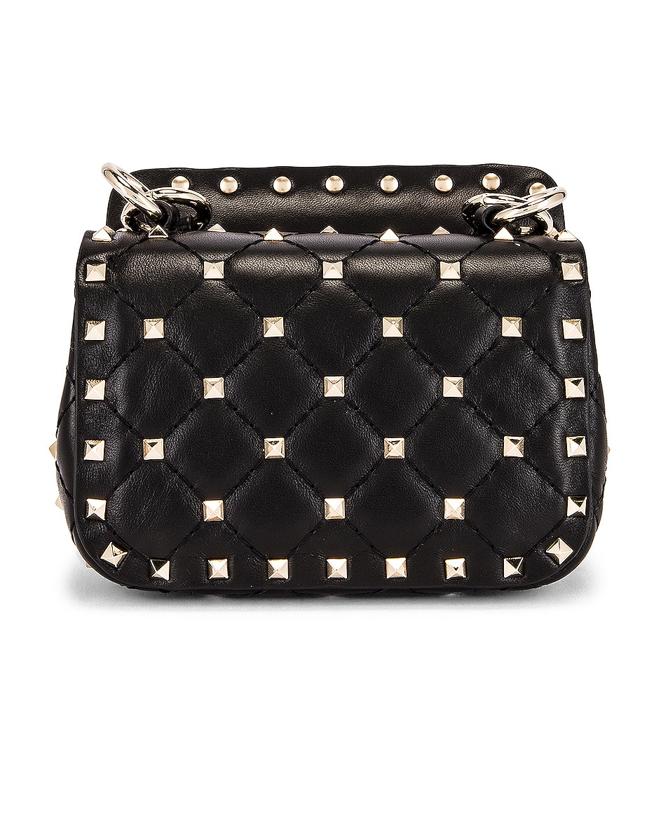 Image 3 of Valentino Micro Rockstud Spike Shoulder Bag in Nero
