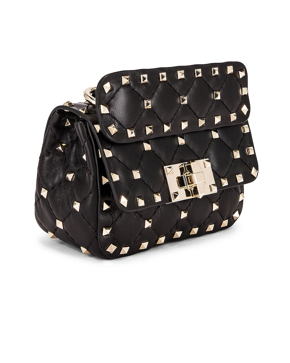 Image 4 of Valentino Micro Rockstud Spike Shoulder Bag in Nero