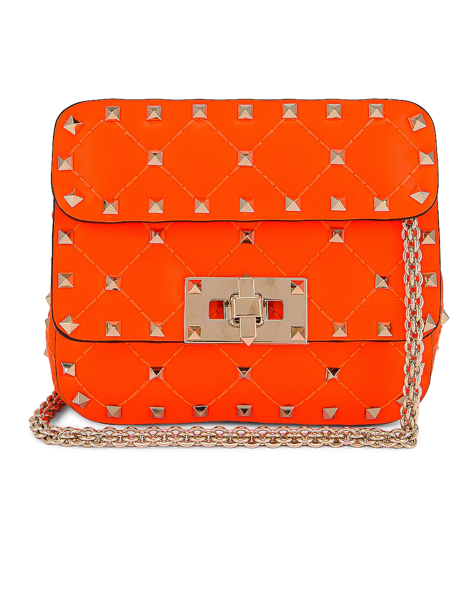 Image 1 of Valentino Micro Rockstud Spike Shoulder Bag in Arancio Fluo