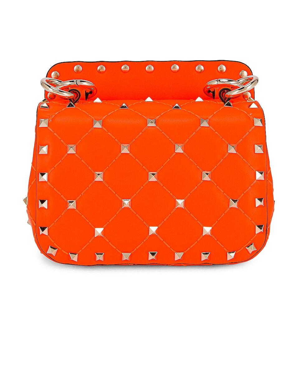 Image 3 of Valentino Micro Rockstud Spike Shoulder Bag in Arancio Fluo
