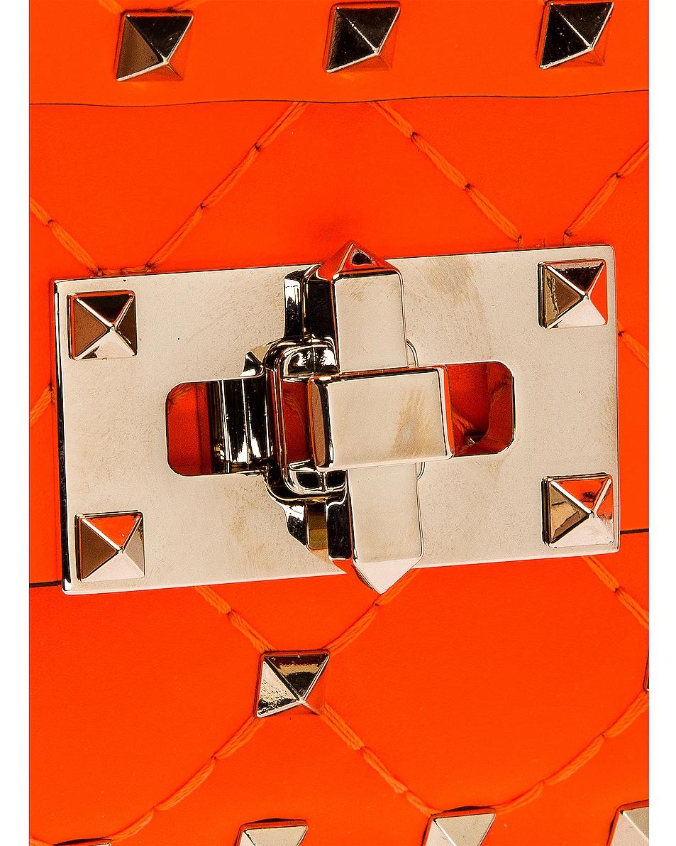 Image 8 of Valentino Micro Rockstud Spike Shoulder Bag in Arancio Fluo