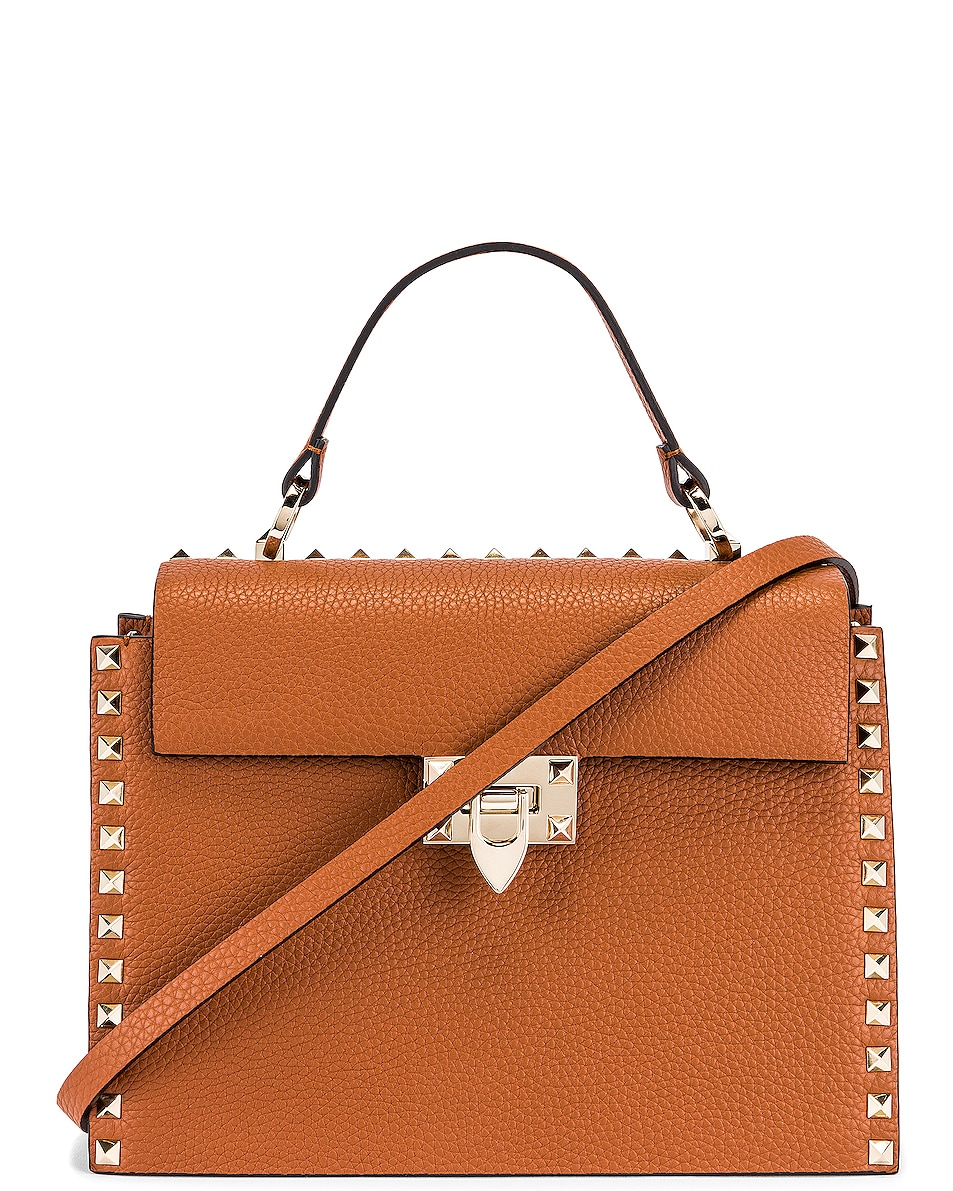 Image 1 of Valentino Rockstud Top Handle Bag in Selleria