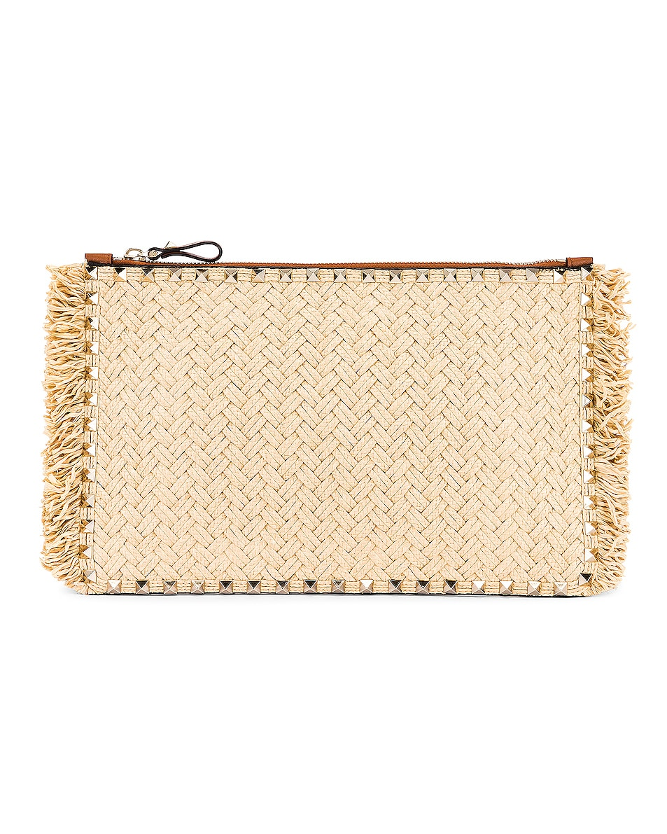 Image 1 of Valentino Large Rockstud Flat Pouch in Natural & Selleria