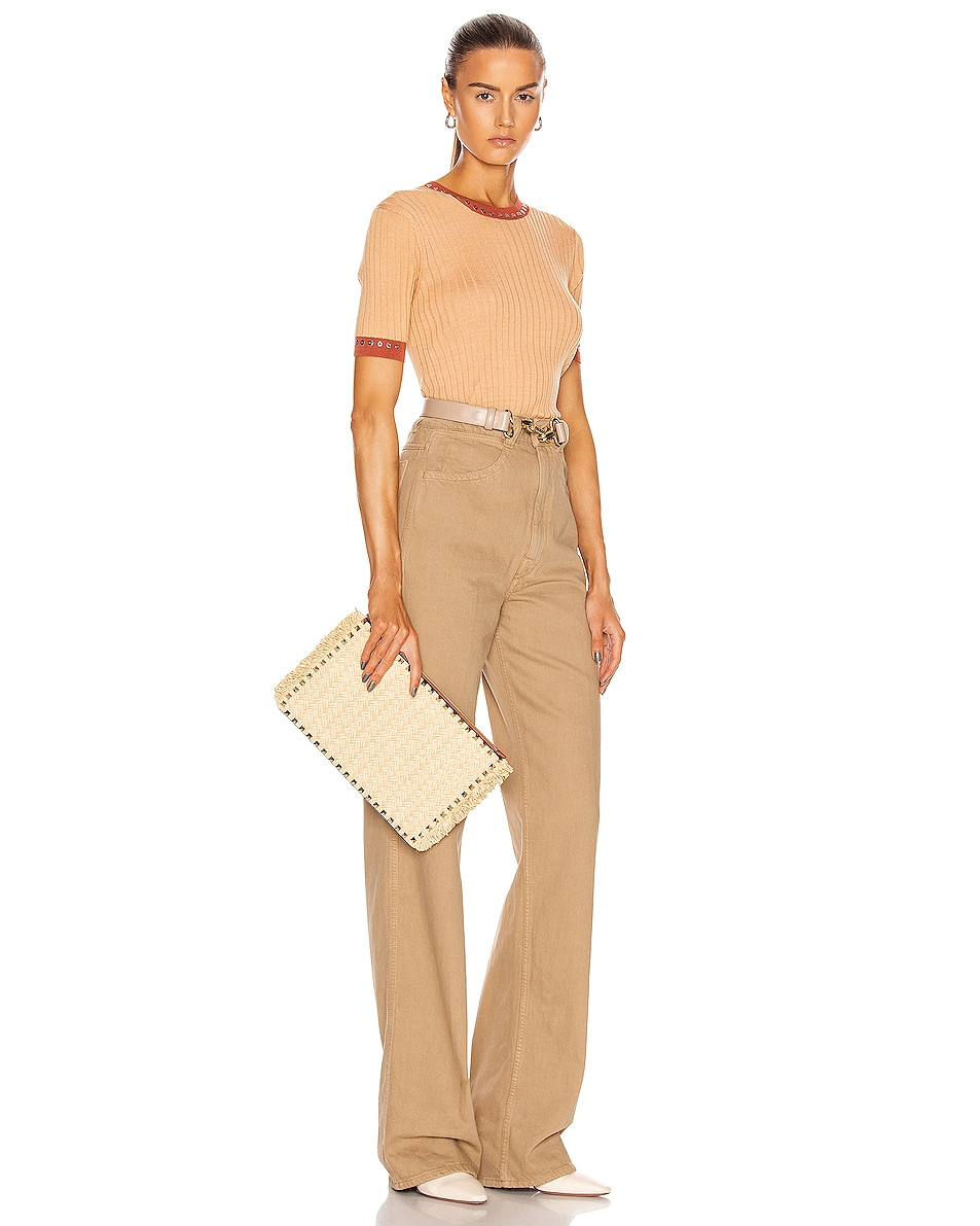 Image 2 of Valentino Large Rockstud Flat Pouch in Natural & Selleria