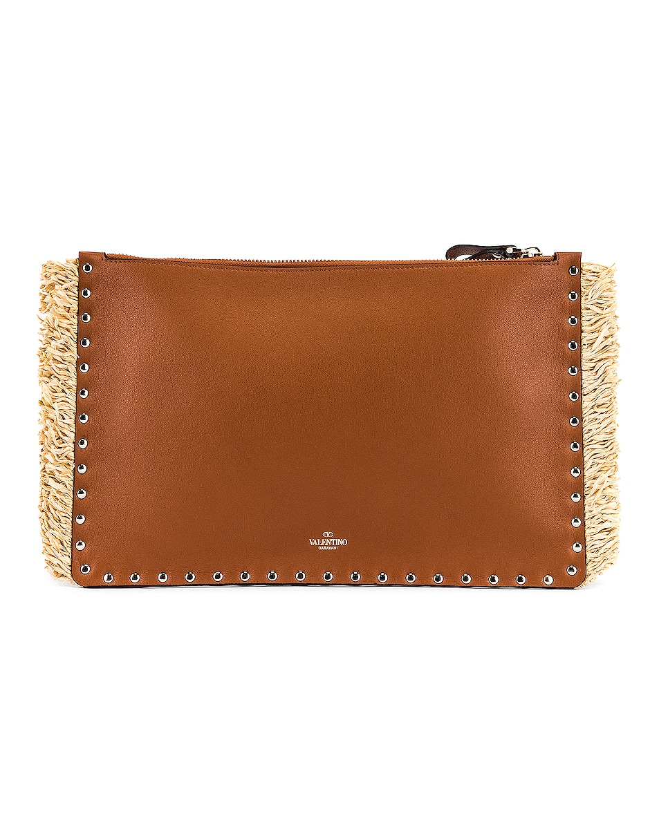 Image 3 of Valentino Large Rockstud Flat Pouch in Natural & Selleria